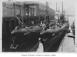 Submarines Bonita and Bass docked on waterfront, Seattle, ca. 1930