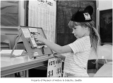 Jennifer Talbot practicing voting, Seattle, 1970