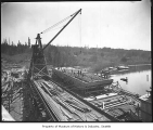 Barge being built at Anderson Shipyard, Houghton, ca. 1921
