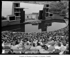 Aqua Theatre at Green Lake during opening day of the musical 'Silk Stockings,' Seattle, 1961