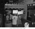Civil rights marchers in front of Olympic Hotel, Seattle, 1964