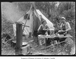 Glen Bigelow and Ed Moen on camping trip, ca. 1910