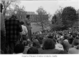 Speaker at University of Washington demonstration, Seattle, May 5, 1970