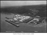 Aerial of Standard Oil tank farm and docks from southwest, Point Wells, 1932