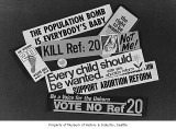 Signs for and against abortion reform, Seattle, 1970
