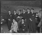Japanese aviators on round-the-world flight at Boeing Field, Seattle, 1939