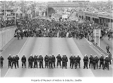 Protestors and police on I-5, Seattle, May 5, 1970