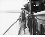 Alice Eldridge on deck of  the yacht Alarwee, Seattle, 1929