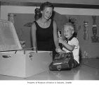 Mary Gates and son Bill Gates at the Museum of History & Industry, Seattle, 1959