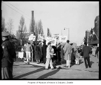 Peace demonstration outside Edmundson Pavilion during President John F. Kennedy's visit,...