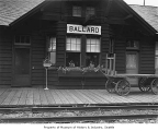 Ballard station of Great Northern Railway viewed close up, Seattle, 1937