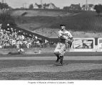 Fred Hutchinson pitching in Seattle Rainiers uniform, Seattle, 1938