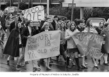 Demonstration for reduction in voting age, Seattle, 1969
