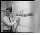 Paul Kirk with architectural rendering, Seattle, 1968