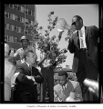 Rev. Samuel McKinney, Mayor Gordon Clinton, and Rev. Mance Jackson at anti-segregation march,...