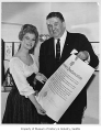 World's Fair Ambassadress Martha Wright with Joseph Gandy, Seattle World's Fair, 1962