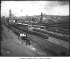 Trains in railroad yard, Seattle, ca. 1915