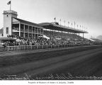 Grandstand and clubhouse at Longacres racetrack, 1935