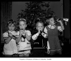 Children at a Christmas program with a Swiss theme at the Museum of History & Industry,...