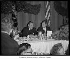 President John F. Kennedy and Warren Magnuson at Olympic Hotel, Seattle, 1961