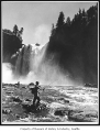 John Peterson fly fishing at Snoqualmie Falls, near Snoqualmie, 1950