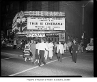 Cinerama premiering at the Paramount Theater, Seattle, 1956