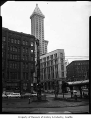 Pioneer Square totem pole and Smith Tower, Seattle, 1959