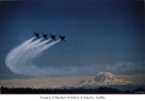 Blue Angels flying over Lake Washington during Seafair, Mount Rainier in background, Seattle, 1987