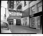 Moore Theatre marquee advertising 'The Pajama Game,' Seattle, 1955