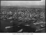 Aerial of waterfront and downtown from west, Seattle, September 15, 1936