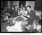 Ben Paris wedding showing wedding party including men in military uniform, possibly in Seattle,...