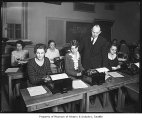 August Dvorak and typing class at University of Washington, Seattle, November 14, 1932