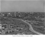 Aerial of Alaskan Way Viaduct  extension south to Spokane Street with a view northeast toward...