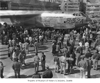 Boeing bomber B-52A during its first showing, probably in Seattle, 1954