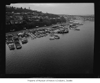 Aerial of Westlake neighborhood and houseboats from east, Seattle, 1966