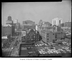 Fourth Avenue looking northwest from Cherry Street, bird's-eye view, Seattle, 1962