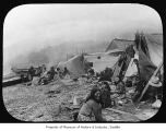 Native Americans camped on beach, n.d.