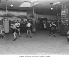 Druxman Athletic Club interior with boxers training, Seattle 1939
