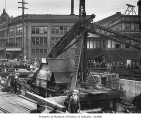 Sea wall Construction on Alaskan Way near Colman Dock, Seattle, 1936