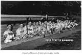 Seattle Rainiers in dugout, Seattle, 1938