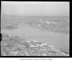 Freeway construction seen from the Space Needle with a view of Westlake and Lake Union, Seattle,...