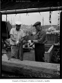Halibut fishermen Elmer Parsons and Knut Blum, Fishermen's Terminal, Seattle, July 1, 1947