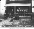Delta Kappa Epsilon fraternity members outside their house, University of Washington, Seattle, 1915