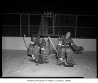 Seattle Totems goalies practicing in Coliseum, Seattle, 1968