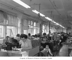Women sewing at Roffe-Rene Inc., Seattle, 1961