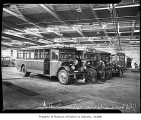 Seattle transit buses in the repair shop, Seattle, 1942