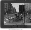 Horse and buggy on Fourth Avenue, Seattle, 1908