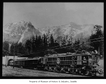 Great Northern electric locomotive in Cascade Mountains, n.d.