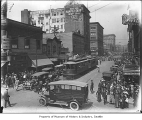 Traffic on Pike Street looking east from First, Seattle, 1920