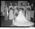 Ben Paris wedding showing bride and bridesmaids in a formal portrait, possibly in Seattle, 1945